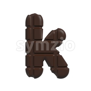 Lower-case chocolate tablet character K - Small 3d letter Stock Photo