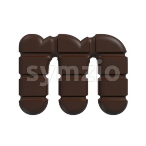 chocolate 3d font M - Lowercase 3d letter Stock Photo