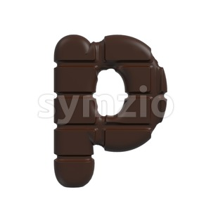chocolate character P - Lowercase 3d font Stock Photo