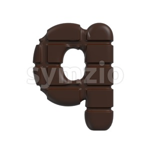 3d Lower-case font Q covered in chocolate texture Stock Photo