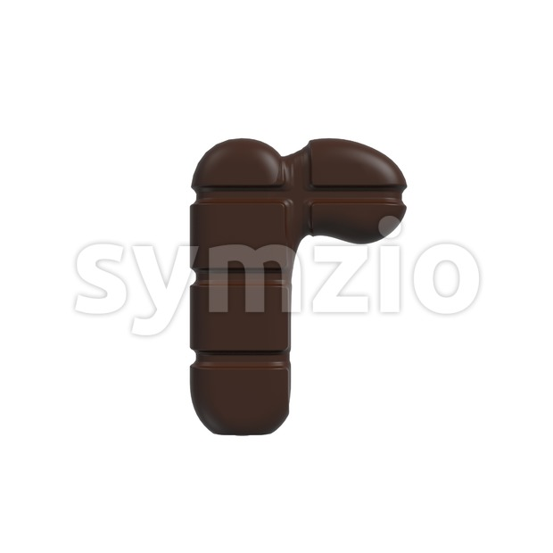 Small cacao character R - Lower-case 3d letter Stock Photo