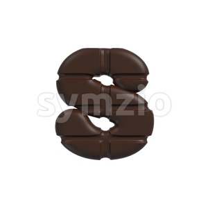 chocolate tablet letter S - Lowercase 3d font Stock Photo