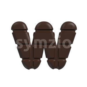 3d Lower-case letter W covered in chocolate texture Stock Photo