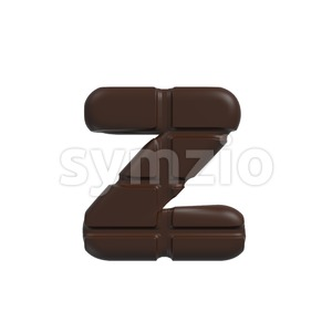 chocolate 3d character Z - Lower-case 3d font Stock Photo