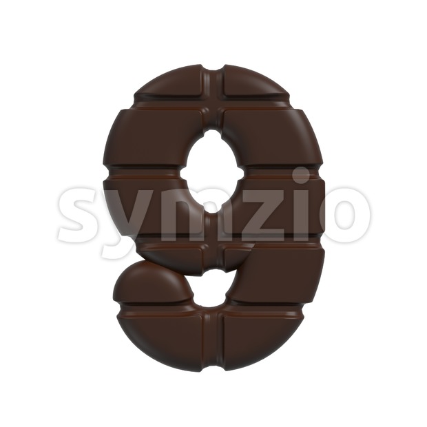 chocolate number 9 - 3d digit Stock Photo