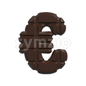 chocolate euro currency sign - 3d business symbol Stock Photo
