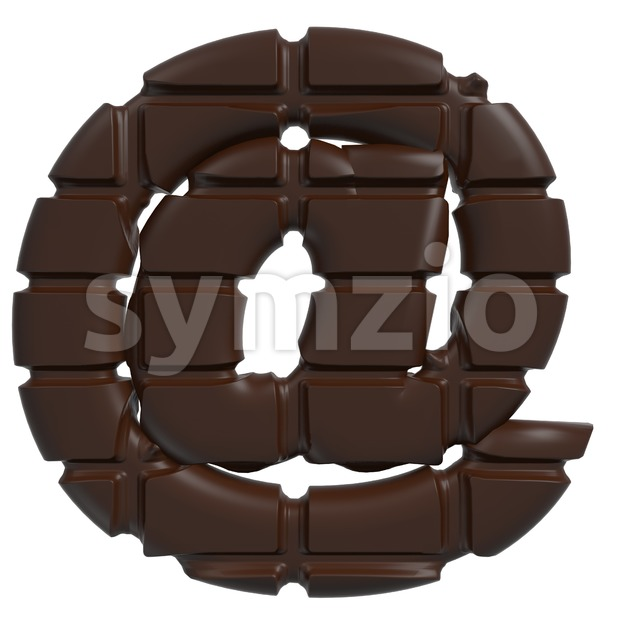 chocolate at-sign - 3d arobase symbol Stock Photo