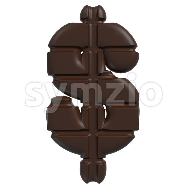 chocolate dollar currency sign - 3d money symbol Stock Photo