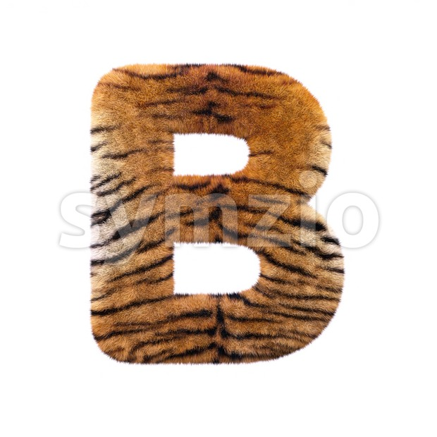 Capital safari tiger letter B - Upper-case 3d font Stock Photo