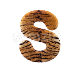 3d Uppercase font S covered in tiger fur texture Stock Photo