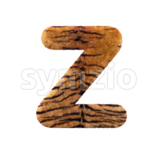 tiger coat letter Z - Upper-case 3d font Stock Photo