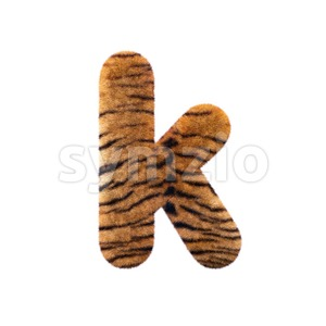 Lower-case safari tiger character K - Small 3d letter Stock Photo