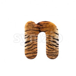 Lower-case tiger fur letter N - Small 3d font Stock Photo