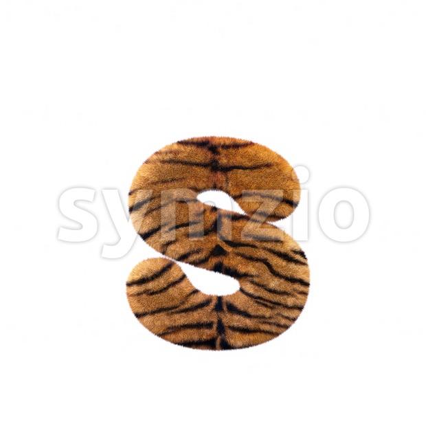 safari tiger letter S - Lowercase 3d font Stock Photo