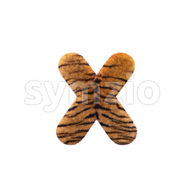 tiger fur 3d font X - Small 3d letter Stock Photo