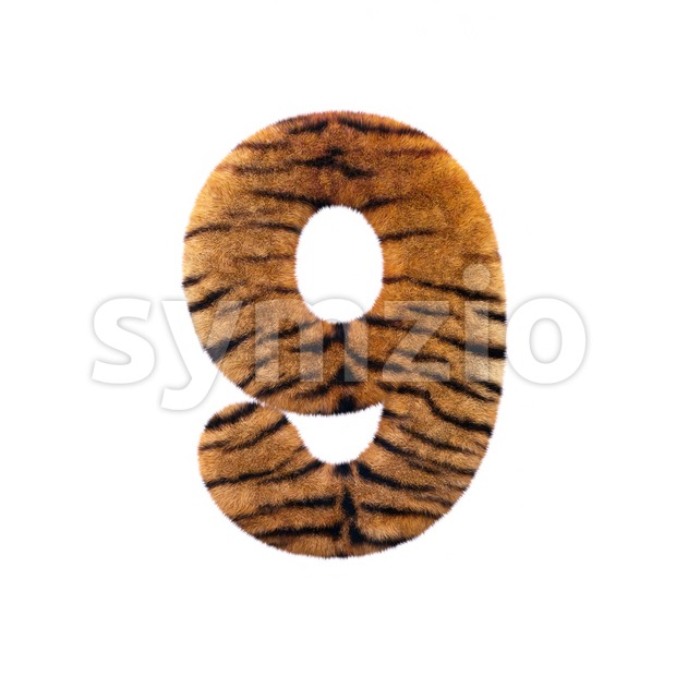 Tiger number 9 - 3d digit Stock Photo