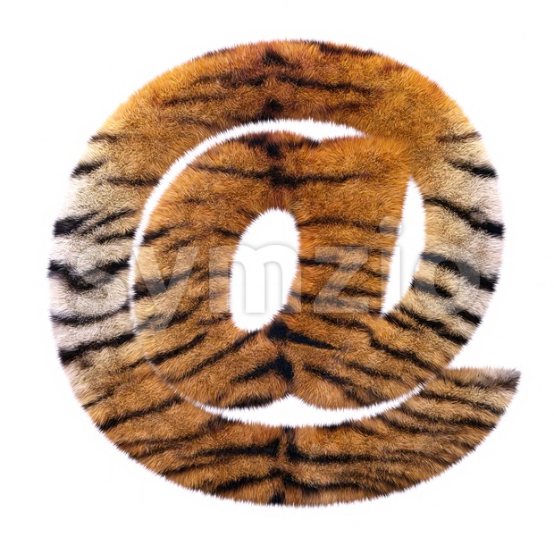 Tiger at-sign - 3d arobase symbol Stock Photo