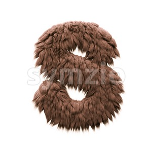 3d Uppercase font S covered in yeti texture - Capital 3d letter Stock Photo