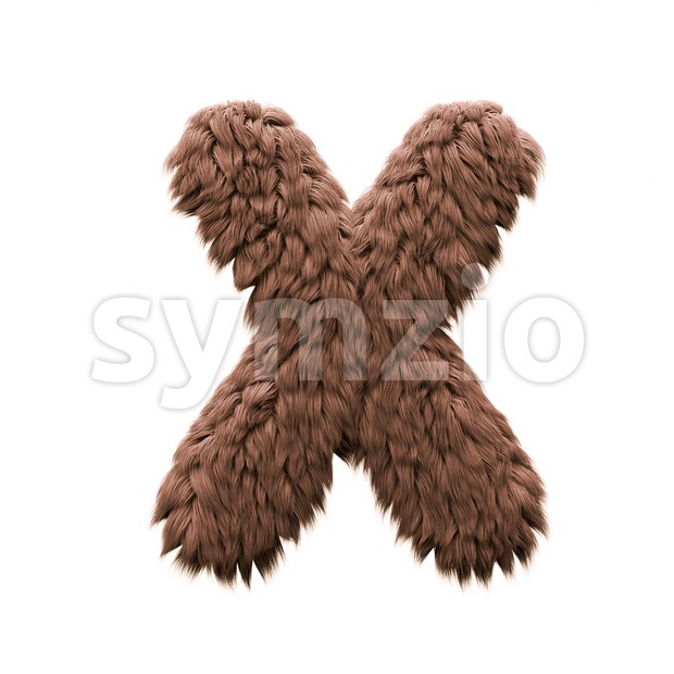 3d Upper-case character X covered in bigfoot texture Stock Photo