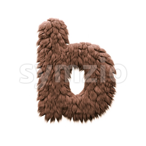3d Lower-case character B covered in bigfoot texture Stock Photo