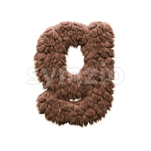 Lowercase yeti font G - Small 3d character Stock Photo