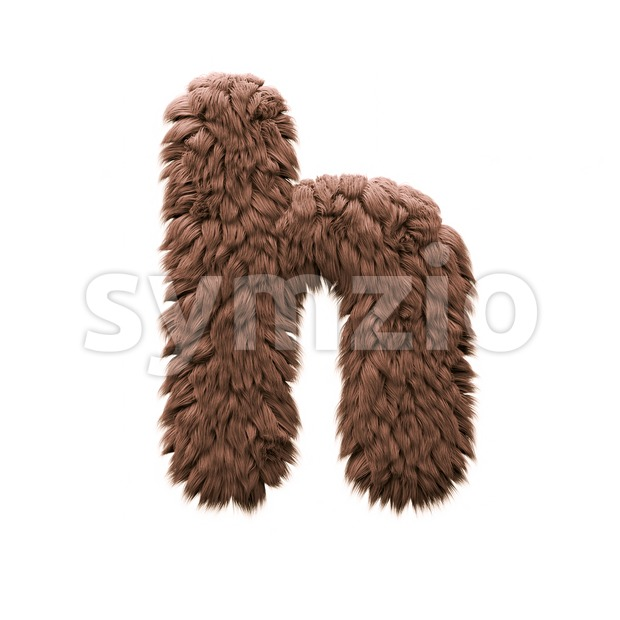 sasquatch font H - Lower-case 3d letter Stock Photo