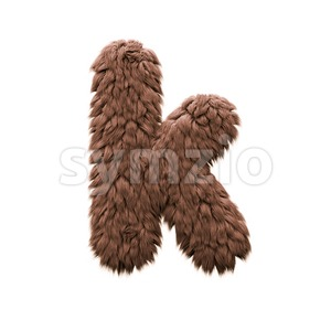 Lower-case sasquatch character K - Small 3d letter Stock Photo