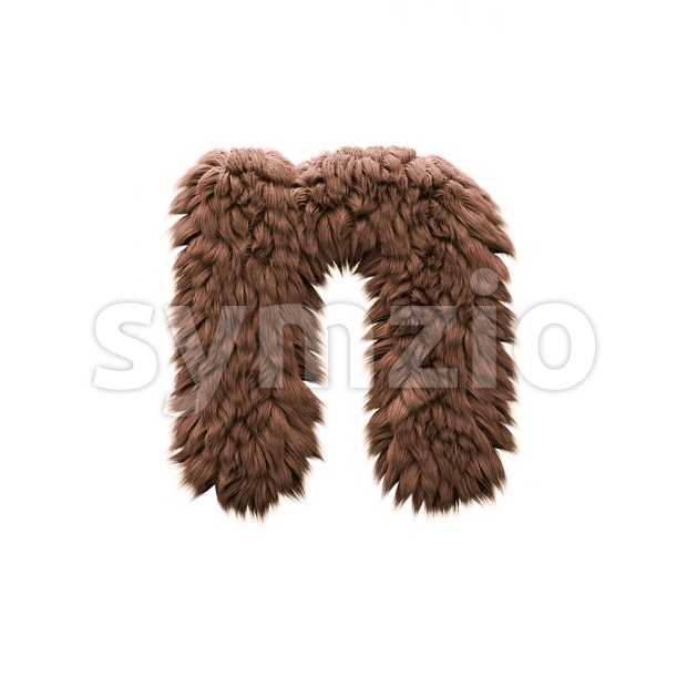 Lower-case yeti letter N - Small 3d font Stock Photo