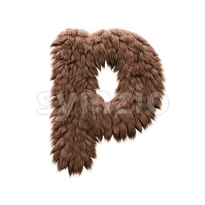 bigfoot character P - Lowercase 3d font Stock Photo