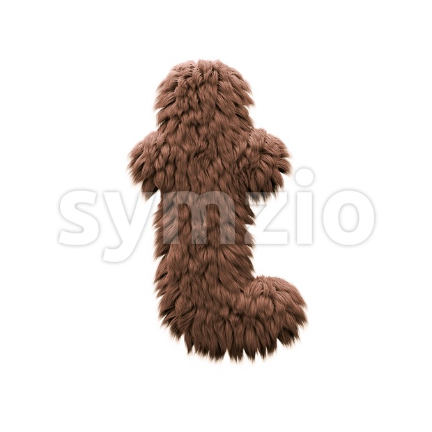 bigfoot letter T - Lower-case 3d font Stock Photo