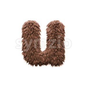 3d Small character U covered in bigfoot texture Stock Photo