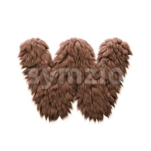 3d Lower-case letter W covered in Monster texture Stock Photo