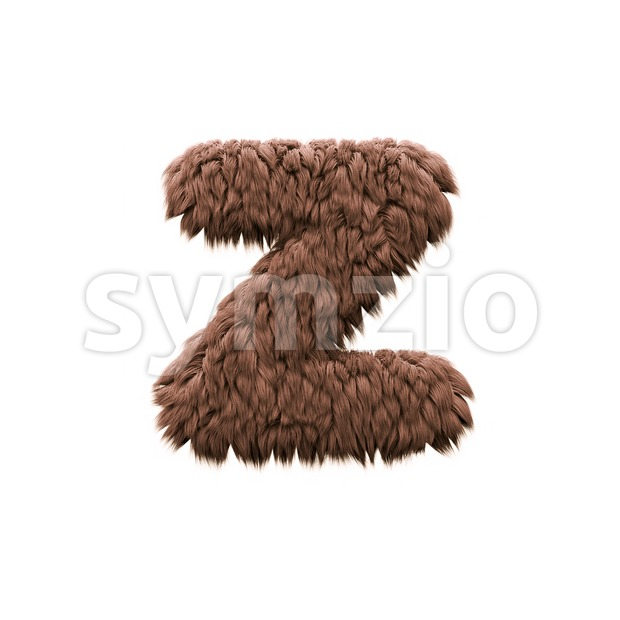 bigfoot 3d character Z - Lower-case 3d font Stock Photo