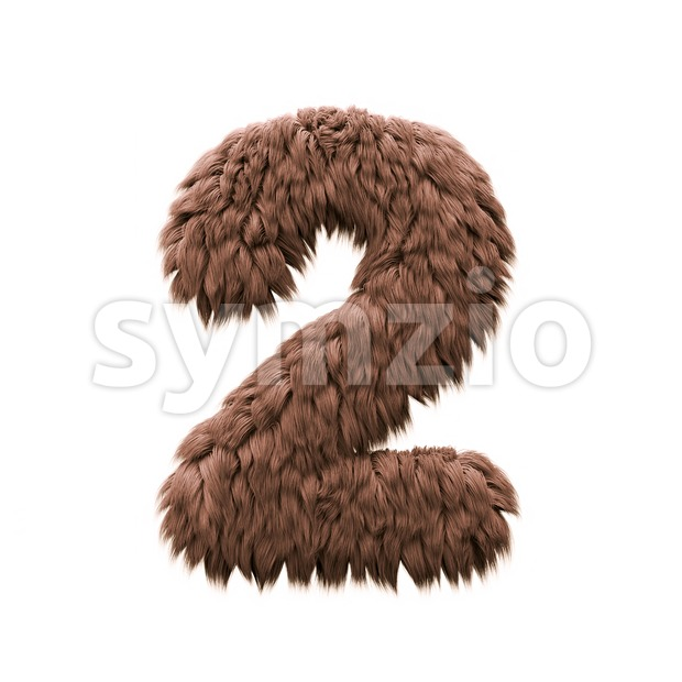 Monster digit 2 - 3d number Stock Photo