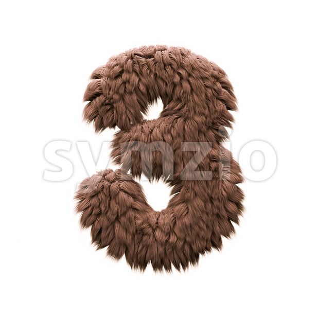 Monster number 3 - 3d digit Stock Photo