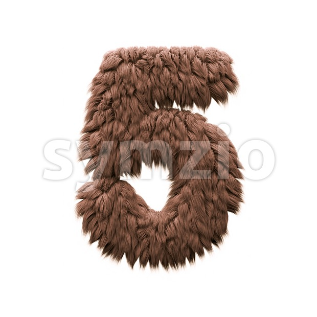 Monster number 5 - 3d digit Stock Photo