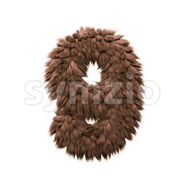 Monster number 9 - 3d digit Stock Photo