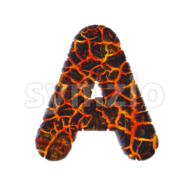 volcano letter A - Capital 3d character Stock Photo