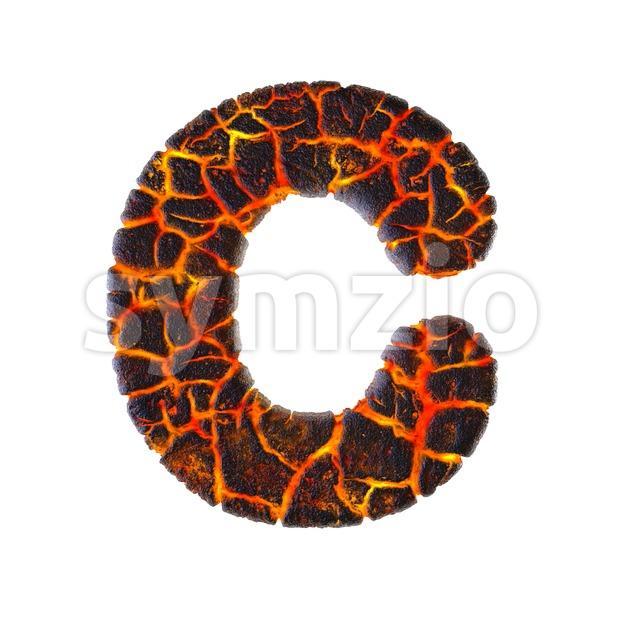 3d volcano font C - Capital 3d letter Stock Photo