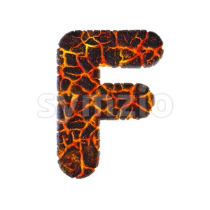 volcano letter F - Upper-case 3d font Stock Photo