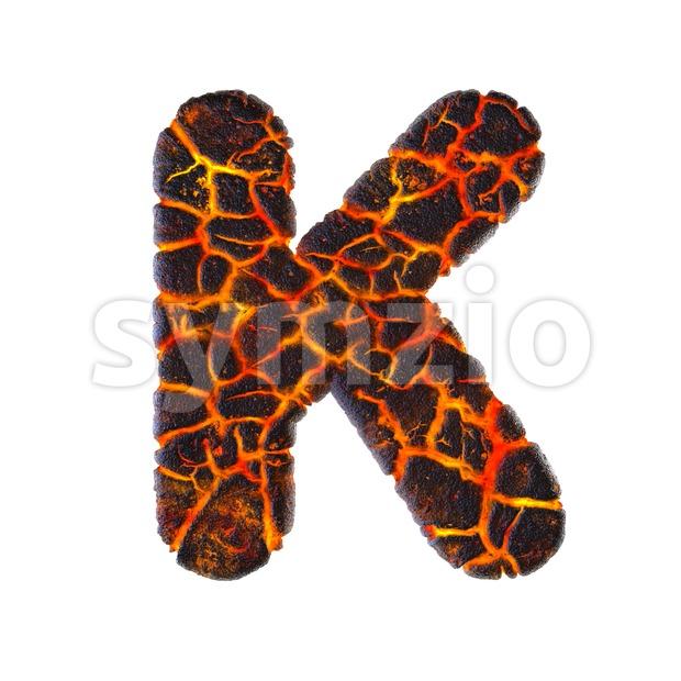 Uppercase volcano letter K - Capital 3d font Stock Photo