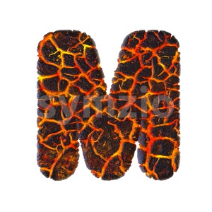 3d Capital character M covered in magma texture Stock Photo