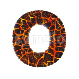 3d Upper-case letter O covered in volcano texture Stock Photo