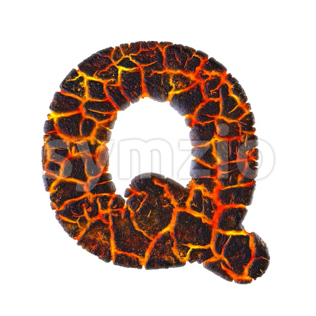 3d Upper-case font Q covered in magma texture Stock Photo