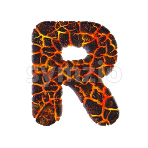 magma letter R - Uppercase 3d font Stock Photo