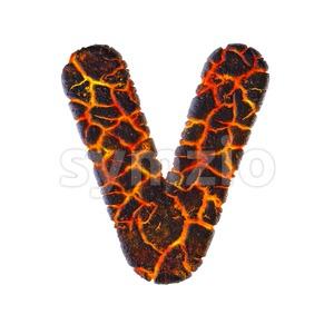 Capital volcano letter V - Upper-case 3d character Stock Photo