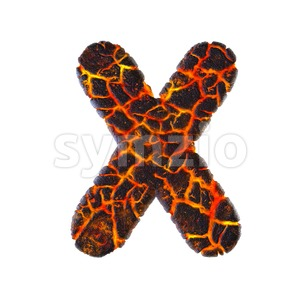 3d Upper-case character X covered in magma texture Stock Photo