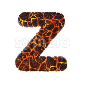 magma letter Z - Upper-case 3d font Stock Photo