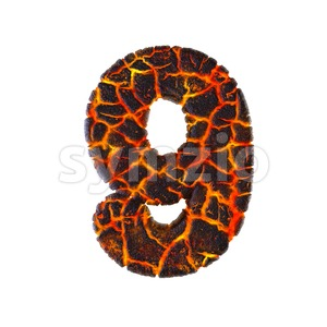 Lava number 9 - 3d digit Stock Photo