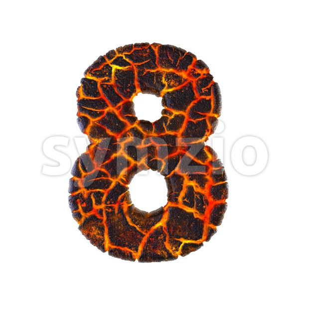 Lava digit 8 - 3d number Stock Photo
